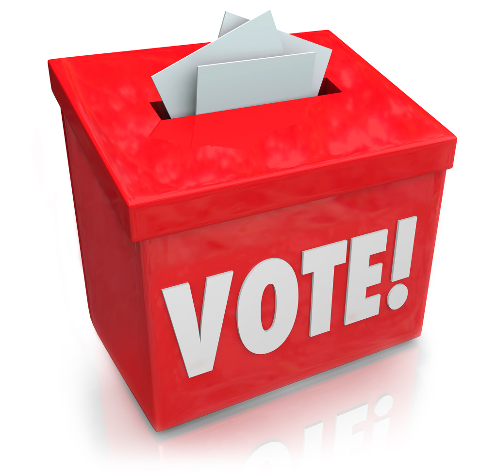 The word Vote on a red ballot box for collecting votes and ballo
